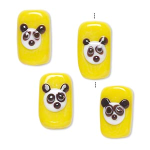 Bead, Lampworked Glass, Yellow/white/black, 16x10mm Double-sided Rectangle Panda Face. Sold Per Pkg 4
