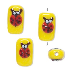 Bead, Lampworked Glass, Yellow/red/brown, 16x10mm Double-sided Rectangle Ladybug. Sold Per Pkg 4