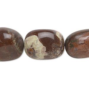 Bead, Sierra Agate (natural), Medium Hand-cut Tumbled Nugget, Mohs Hardness 6-1/2 7. Sold Per 16-inch Strand