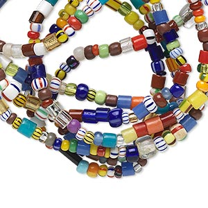 Approx 2x1mm-4x3mm Mixed Shapes 1 Strand Multicolored Glass Beads Mix