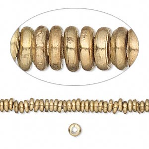Bead, Brass, 4mm Heishi. Sold Per 16-inch Strand
