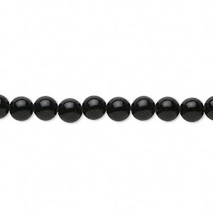Bead, Black Agate (dyed), 4-5mm Round, B Grade, Mohs Hardness 6-1/2 7. Sold Per 15-inch Strand