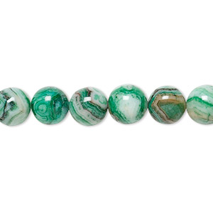 Bead, Crazy Lace Agate (dyed), Green, 8mm Round, B Grade, Mohs Hardness 6-1/2 7. Sold Per 16-inch Strand 1952GE