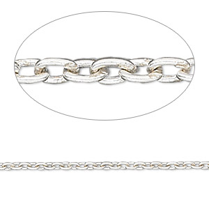 Chain, Sterling Silver, 2mm Cable. Sold Per Pkg 5 Feet