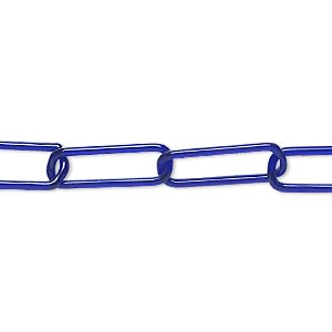 Chain, Lampworked Glass, Blue, (5) 16x6mm Oval Links, 3 Inches. Sold Per Pkg 2