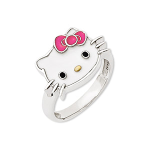 9becd8f1b Ring, Hello Kitty®, enamel and sterling silver, multicolored, 14mm Hello  Kitty face, size 7. Sold individually. - Fire Mountain Gems and Beads