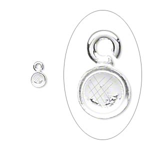 Drop, Fine Silver, 4mm Round Bezel Cup Setting Open Loop. Sold Per Pkg 10