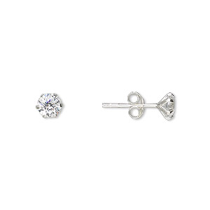 Earring, Sterling Silver Cubic Zirconia, Clear, 5mm Round Post. Sold Per Pair 2011JE