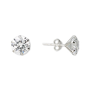 Earring, Sterling Silver Cubic Zirconia, Clear, 9mm Faceted Round Post. Sold Per Pair 2012JE