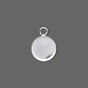 Drop, Fine Silver, 12mm Round Bezel Cup Setting Open Loop. Sold Per Pkg 4
