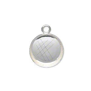 Drop, Fine Silver, 16mm Round Bezel Cup Setting Open Loop. Sold Per Pkg 2