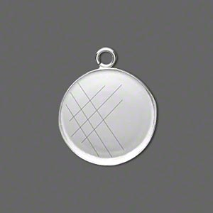 Drop, Fine Silver, 20mm Round Bezel Cup Setting Open Loop. Sold Per Pkg 2