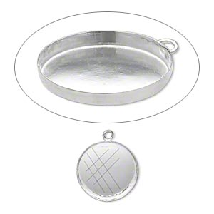 Drop, Fine Silver, 25mm Round Bezel Cup Setting Open Loop. Sold Individually