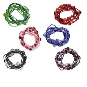 Bracelet Mix, Stretch, Glass, Mixed Colors, Mixed Size Shape, 6 Inches. Sold Per Pkg 48 2020JE