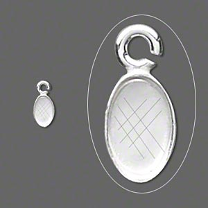 Drop, Fine Silver, 6x4mm Oval Bezel Cup Setting Open Loop. Sold Per Pkg 10