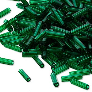 Bugle Beads Glass Greens