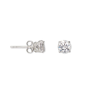 Earring, Sterling Silver Cubic Zirconia, Clear, 6mm Faceted Round Post. Sold Per Pair 2023JE