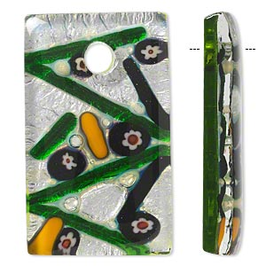 Focal, Lampworked Glass, Green Multicolored Millefiori Silver-colored Foil, 50x30mm Rectangle. Sold Individually