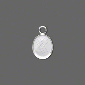 Drop, Fine Silver, 12x10mm Oval Bezel Cup Setting Open Loop. Sold Per Pkg 2