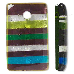 Focal, Lampworked Glass, Multicolored Silver-colored Foil, 50x30mm Rectangle Stripes. Sold Individually