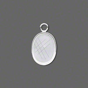 Drop, Fine Silver, 16x12mm Oval Bezel Cup Setting Open Loop. Sold Per Pkg 2