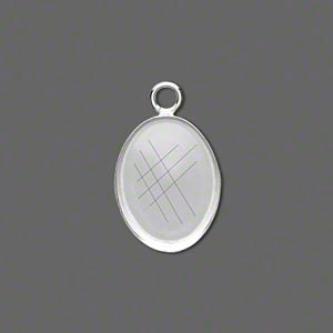 Drop, Fine Silver, 18x13mm Oval Bezel Cup Setting Open Loop. Sold Per Pkg 2