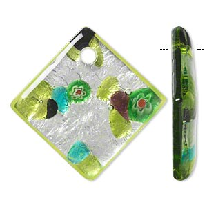 Focal, Lampworked Glass, Multicolored Silver-colored Foil, 53x53mm Diamond 5.5mm Hole. Sold Individually