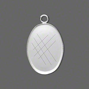 Drop, Fine Silver, 25x18mm Oval Bezel Cup Setting Open Loop. Sold Individually