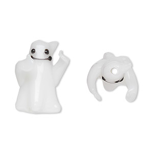 4 Lampwork Glass Opaque White 22x22mm Ghost Halloween Beads