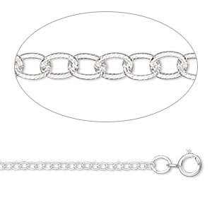 Chain, Sterling Silver, 1.8mm Ribbed Round Cable, 16 Inches Springring Clasp. Sold Individually