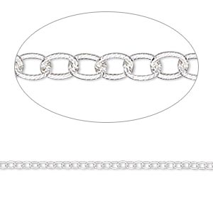 Chain, Sterling Silver, 1.8mm Ribbed Round Cable. Sold Per Pkg 5 Feet