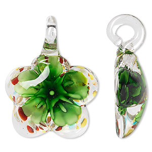 Pendant, Lampworked Glass, Multicolored Copper-colored Foil, 45x34mm Single-sided Domed Flower. Sold Individually