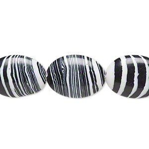 Bead, Resin, Black White, 18x13mm Flat Oval. Sold Per 16-inch Strand