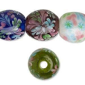 Bead, Lampworked Glass, Assorted Colors Flowers, 21x21mm Barrel. Sold Per 8-inch Strand