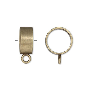 Bead, JBB Findings, Antiqued Brass, 13.5x6mm Smooth Round Tube Closed Loop 11.75mm Hole. Sold Individually 7493ABR