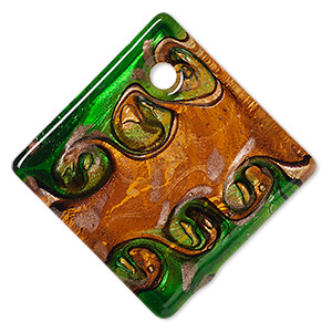 Focal, Lampworked Glass, Orange Green Copper-colored Foil, 55x55mm Single-sided Flat Diamond. Sold Individually