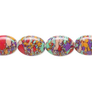 Bead, Resin, Multicolored, 14x10mm Flat Oval Mosaic Design. Sold Per 16-inch Strand