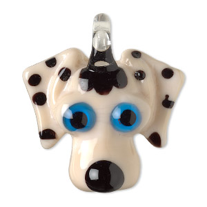 Pendant, Lampworked Glass, Tan / Black / Blue, 38x34mm Single-sided Dog Head. Sold Individually