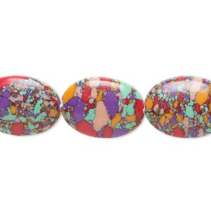 Bead, Resin, Multicolored, 18x13mm Flat Oval Mosaic Design. Sold Per 16-inch Strand