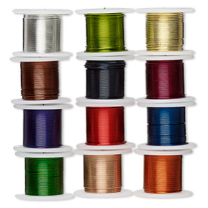 Wire, Zebra Wire™, Copper Brass, Assorted Colors, Round, 26 Gauge. Sold Per Pkg (12) 5-yard Spools 2072WR