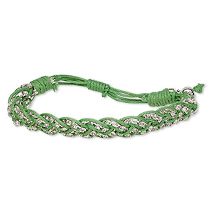 Bracelet, Waxed Cotton Cord / Glass Rhinestone / Silver-finished Brass, Green Clear, 13mm Wide Cupchain, Adjustable 6-1/2 8 Inches Wrapped Knot Closure. Sold Individually 2074JU