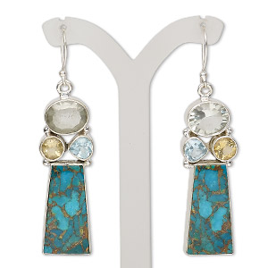 Fishhook Earrings Mixed Gemstones Multi-colored