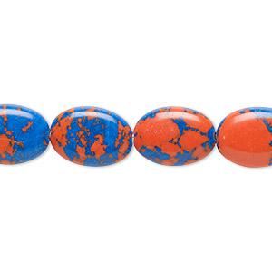 Bead, Resin, Dark Blue Orange, 14x10mm Flat Oval. Sold Per 16-inch Strand
