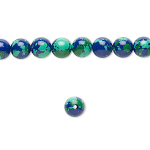 Bead, Resin, Dark Blue / Green / Turquoise Blue, 6mm Round. Sold Per 16-inch Strand