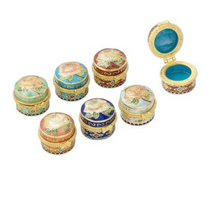 Box, Cloisonné, Enamel Gold-finished Brass, Multicolored, 1-1/8 X 1-inch Round Rose Design. Sold Per 6-piece Set