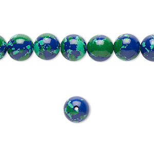 Bead, Resin, Dark Blue / Green / Turquoise Blue, 8mm Round. Sold Per 16-inch Strand