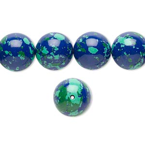 Bead, Resin, Dark Blue / Green / Turquoise Blue, 12mm Round. Sold Per 16-inch Strand