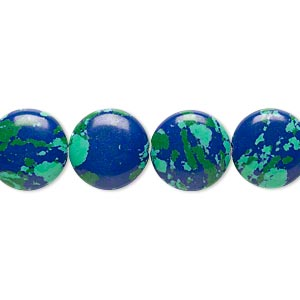 Bead, Resin, Dark Blue / Green / Turquoise Blue, 12mm Flat Round. Sold Per 16-inch Strand