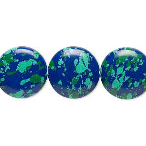 Bead, Resin, Dark Blue / Green / Turquoise Blue, 16mm Flat Round. Sold Per 16-inch Strand
