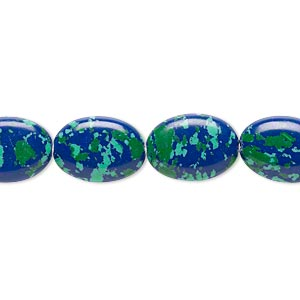 Bead, Resin, Dark Blue / Green / Turquoise Blue, 14x10mm Flat Oval. Sold Per 16-inch Strand
